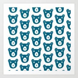 Cute dark blue bear illustration Art Print