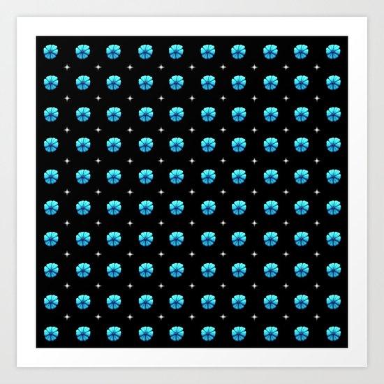 White stars blue flowers grid by stephobrien