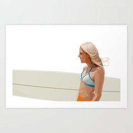 Surfer girl - vector illustration Art Print