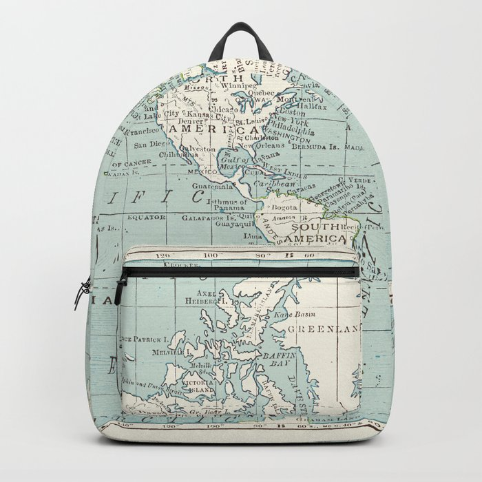 World Map in Blue and Cream Rucksack