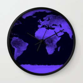 Periwinkle World Map Wall Clock