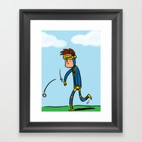 Cyclops Loves Baseball Framed Art Print