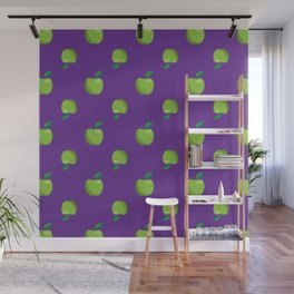 a basket of green apples pattern Wall Mural