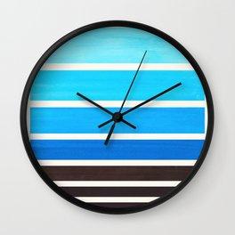 Cerulean Blue Minimalist Watercolor Mid Century Staggered Stripes Rothko Color Block Geometric Art Wall Clock