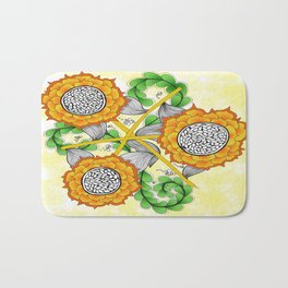 Zentangle Happy Yellow and Orange Sunflowers Bath Mat