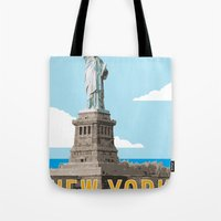 travel poster Tote Bags featuring New York Travel Poster by Michael Jon Watt