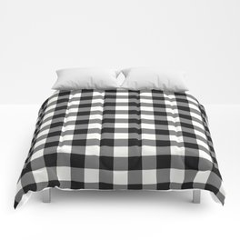 Black and White Country Buffalo check with digital canvas texture Comforters