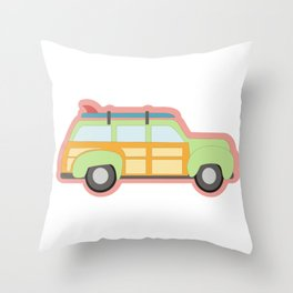 Shaggin Woody Wagon Throw Pillow