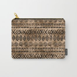 Ancient  Gold and Black Tribal Ethnic  Pattern Carry-All Pouch