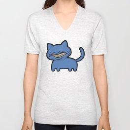 toothcat (blu) Unisex V-Neck