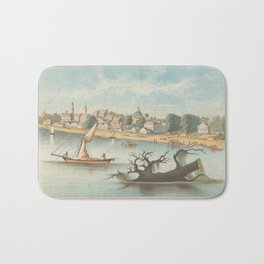 Vintage Pictorial View of Baton Rouge LA (1854) Bath Mat