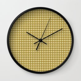 Golden Yellow Industrial Grid and Rivet Grill Pattern Wall Clock