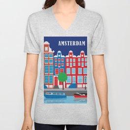Amsterdam, Netherlands - Skyline Illustration by Loose Petals Unisex V-Neck