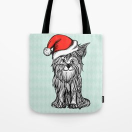 Christmas Dog In Santa Clause Hat Tote Bag