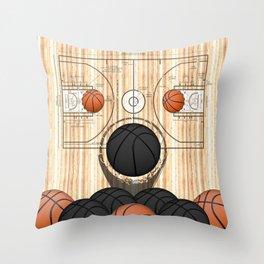 Colorful Black basketballs on a Basketball Court Throw Pillow