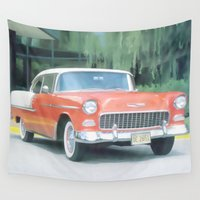sports Wall Tapestries featuring 1955 Chevrolet Sports Coupe by Just Art