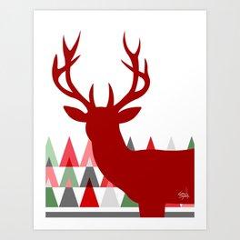 Deer Head Geometric Triangles | white red green Art Print