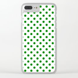 Small Polka Dots - Green on White Clear iPhone Case