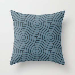 Circle Swirl Pattern Inspired by Behr Color of the Year 2019 Blueprint Blue S470-5 Throw Pillow