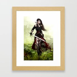 Lady knight - Warrior girl with sword concept art Framed Art Print