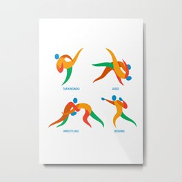 Judo Taekwondo Boxing Wrestiling Icon Metal Print