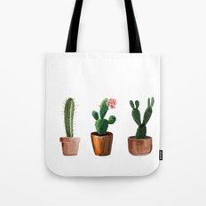Three Cacti On White Background Tote Bag
