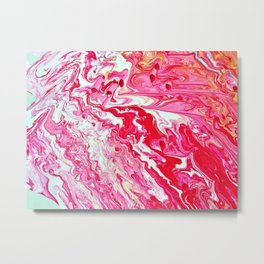 red acrylic pour Metal Print