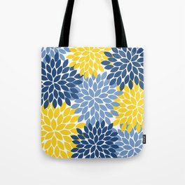 Blue Yellow Flower Burst Floral Pattern Tote Bag