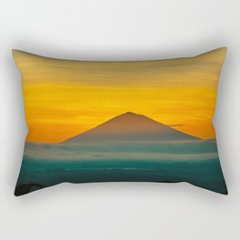 Mountain Volcano In The Distant Green Yellow Orange Sunset Hues Landscape Photography Rectangular Pillow