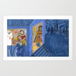 A night in blue Art Print