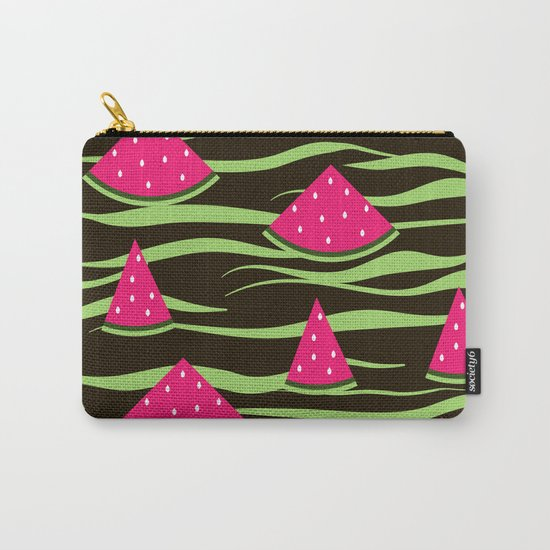Watermelon on black background . 1 . Carry-All Pouch