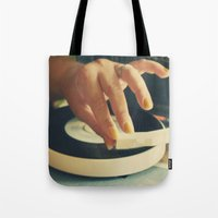 vinyl Tote Bags featuring Vinyl by Gina Conti