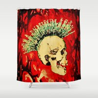 health Shower Curtains featuring MENTAL HEALTH - 025 by Lazy Bones Studios