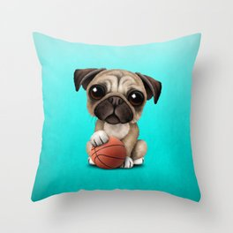 Cute Pug Puppy Dog Playing With Basketball Throw Pillow