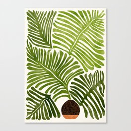 Summer Fern / Simple Modern Watercolor Canvas Print