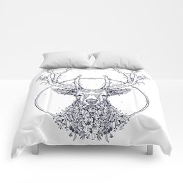 Flowers and Stag [Monochrome] Comforters