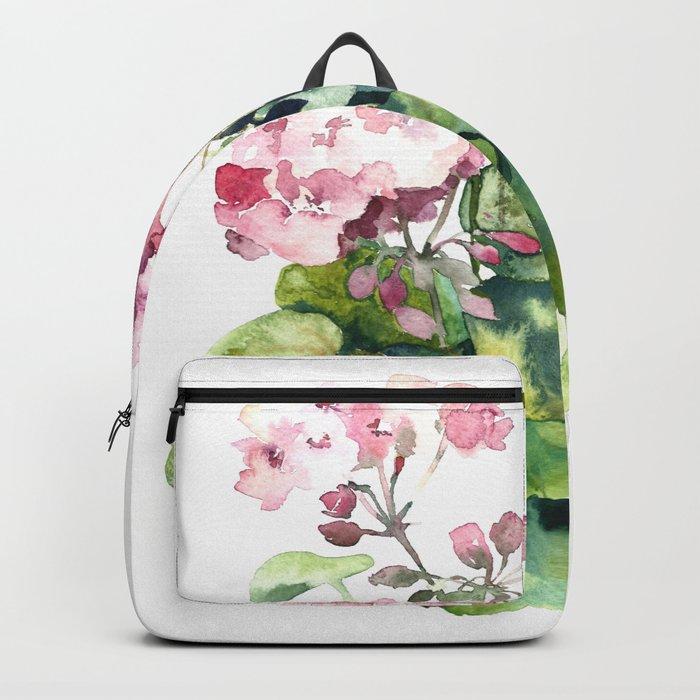 Watercolor pink geranium flowers aquarelle Backpack