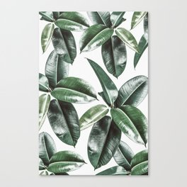 Tropical Leaves Pattern | Dark Green Leaves Photography Canvas Print
