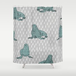 Seals- Blue and Gray Shower Curtain