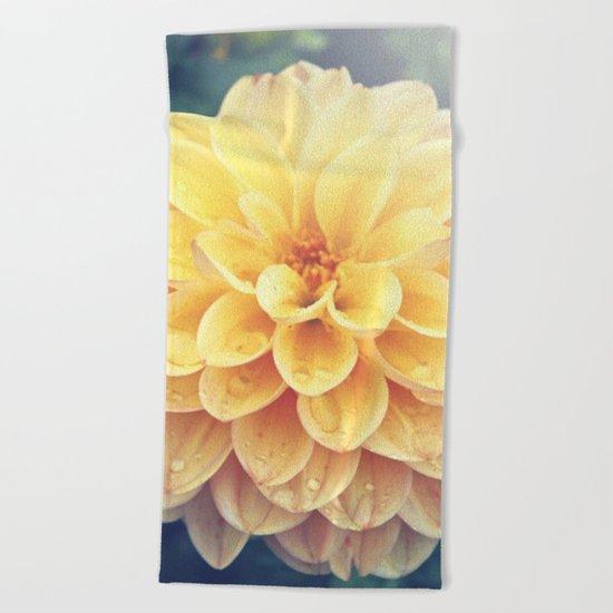 Pretty Yellow Dahlia Beach Towel