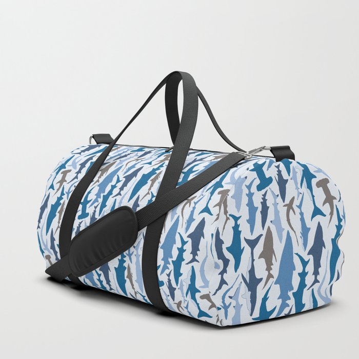 Swimming with Sharks in Blue and Grey Duffle Bag