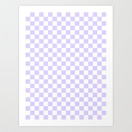 White and Pale Lavender Violet Checkerboard Art Print