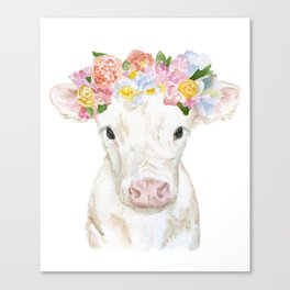 White Calf with Floral Crown Canvas Print