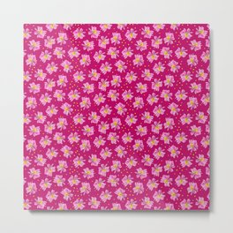 Summer Flower Pattern in Fuchsia and Pink Metal Print