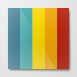 Multicolor Retro Stripes Metal Print