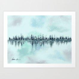 Abstract Winter Cityscape Skyline Art Print