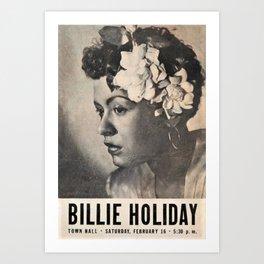 1946 Billie Holiday New York City Town Hall Concert Concert Poster Art Print
