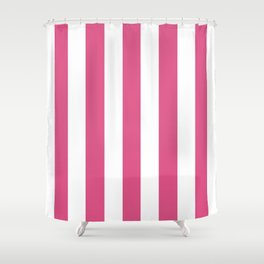 Fandango pink - solid color - white vertical lines pattern Shower Curtain