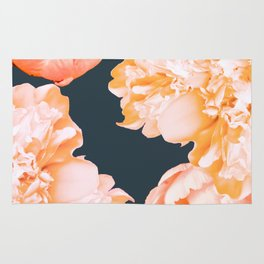 Peach Colored Flowers Dark Background #decor #society6 #buyart Rug