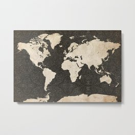 World Map - Ink lines Metal Print